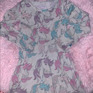Girls long sleeved unicorn dress size 5/6